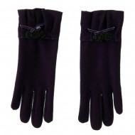 Ruffle Rose and Bow Accent Glove - Purple