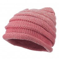 Women's Ribbed Rolled Beanie - Pink