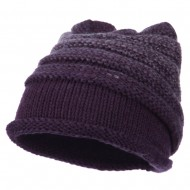 Women's Ribbed Rolled Beanie - Purple