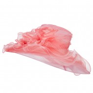 2 Roses Accent Wide Organza Hat - Coral