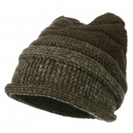 Women's Ribbed Rolled Beanie - Black