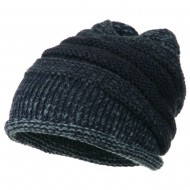 Women's Ribbed Rolled Beanie - Navy