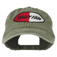 Rally Fan Race Badge Embroidered Washed Cap - Olive Green