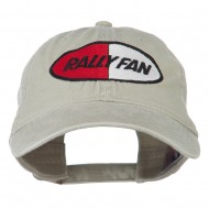 Rally Fan Race Badge Embroidered Washed Cap - Khaki