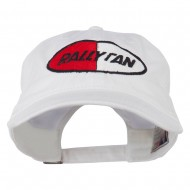 Rally Fan Race Badge Embroidered Washed Cap - White