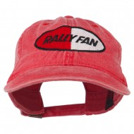 Rally Fan Race Badge Embroidered Washed Cap - Red