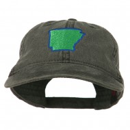 Arkansas State Map Embroidered Washed Cotton Cap - Black