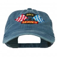 Race Series Flags Embroidered Washed Cap - Navy