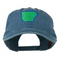 Arkansas State Map Embroidered Washed Cotton Cap - Navy