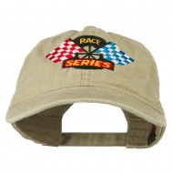Race Series Flags Embroidered Washed Cap - Khaki