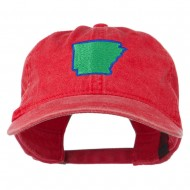 Arkansas State Map Embroidered Washed Cotton Cap - Red