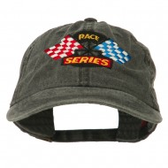 Race Series Flags Embroidered Washed Cap - Black