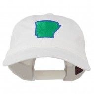 Arkansas State Map Embroidered Washed Cotton Cap - White