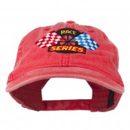 Race Series Flags Embroidered Washed Cap - Red