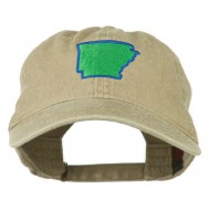 Arkansas State Map Embroidered Washed Cotton Cap - Khaki