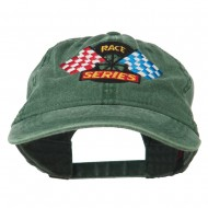 Race Series Flags Embroidered Washed Cap - Dark Green