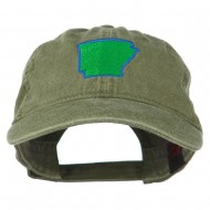 Arkansas State Map Embroidered Washed Cotton Cap - Olive Green