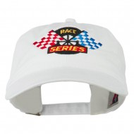Race Series Flags Embroidered Washed Cap - White
