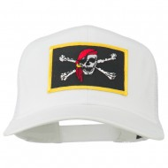 Jolly Roger Scarf Skull Patched Mesh Cap - White