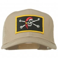 Jolly Roger Scarf Skull Patched Mesh Cap - Khaki