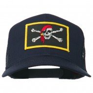 Jolly Roger Scarf Skull Patched Mesh Cap - Navy