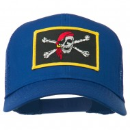 Jolly Roger Scarf Skull Patched Mesh Cap - Royal