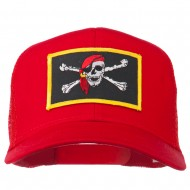 Jolly Roger Scarf Skull Patched Mesh Cap - Red