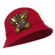 Wool Felt Cloche Hat with Rhinestone Butterfly - Red