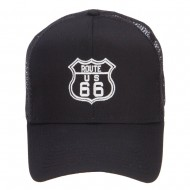 US Route 66 Embroidered Mesh Cap - Black