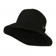 Woman's Roll Up Bucket Hat with Leatherette Snap Band - Black