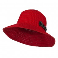 Woman's Roll Up Bucket Hat with Leatherette Snap Band - Red