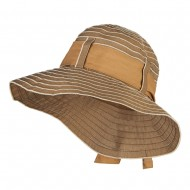 Vintage Crushable Ribbon Tie Bucket Hat - Tan