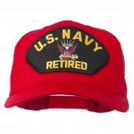 US Navy Retired Military Patched Cap - Red