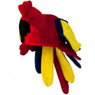 Red Blue Velvet Birds Hat - Parrot
