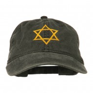 Star of David Embroidered Washed Dyed Cap - Black