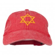 Star of David Embroidered Washed Dyed Cap - Red