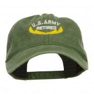US Army Retired Emblem Embroidered Washed Cap - Olive