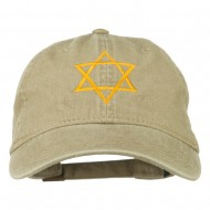 Star of David Embroidered Washed Dyed Cap - Khaki
