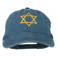 Star of David Embroidered Washed Dyed Cap - Navy