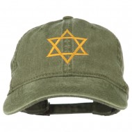 Star of David Embroidered Washed Dyed Cap - Olive Green