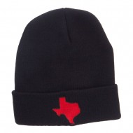 Red Texas State Map Embroidered Cuff Beanie - Black