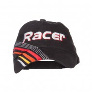 Racer Embroidered Deluxe Cotton Cap - Black