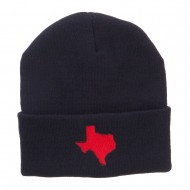Red Texas State Map Embroidered Cuff Beanie - Navy