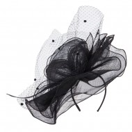 Flower Net Sinamay Fascinator - Black