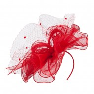 Flower Net Sinamay Fascinator - Red
