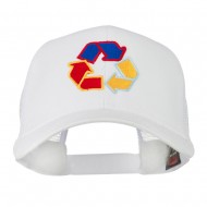 Recycle Logo Embroidered Mesh Cap - White
