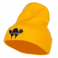 Halloween Scaredy Cat Embroidered Long Beanie - Yellow