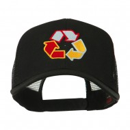 Recycle Logo Embroidered Mesh Cap - Black
