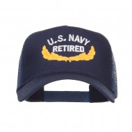 US Navy Retired Emblem Embroidered Mesh Cap - Navy