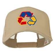Recycle Logo Embroidered Mesh Cap - Khaki
